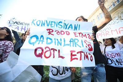 ضرب و شتم زنان معترض در باکو