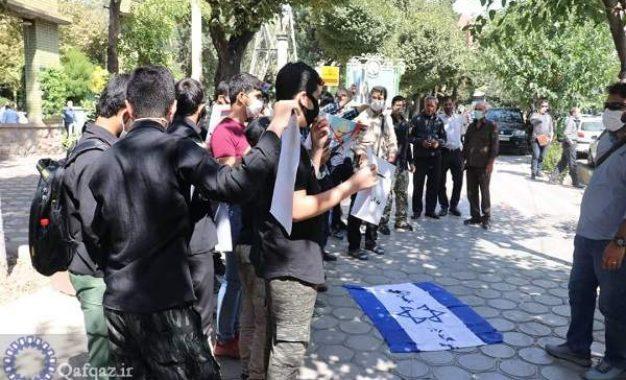 تجمع اعتراضی دانشجویان ایرانی مقابل سفارت ارمنستان در تهران / تصاویر