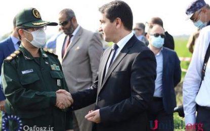 دیدار و گفتگوی حکمت حاجی اف با وابسته نظامی ایران در مناطق بمباران شده آذربایجان