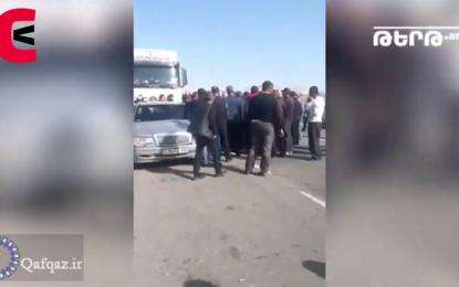 جلوگیری از حرکت کامیون های عبوری ترکیه به ارمنستان / فیلم