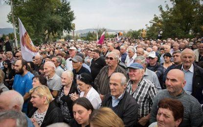 تظاهرات اعتراض آمیز در مقابل سفارت آمریکا  در تفلیس