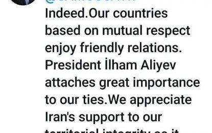 ابراز قدردانی مجدد دستیار رئیس جمهور آذربایجان از مواضع ایران در مساله قره باغ