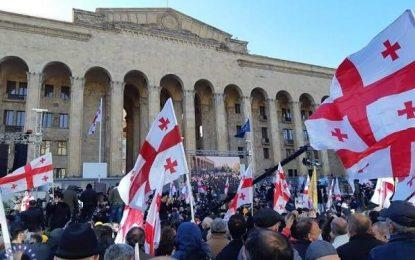 برگزاری تظاهرات اعتراض آمیز مخالفان دولت گرجستان در تفلیس