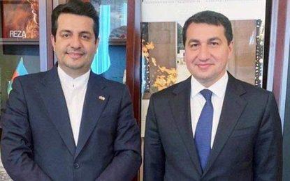 ابلاغ پیام علیاف به رئیسی در دیدار سفیر ایران و دستیار رئیسجمهور آذربایجان